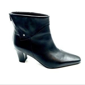 "David Tate Black Leather Heeled Boots, Size 8.5"" W"